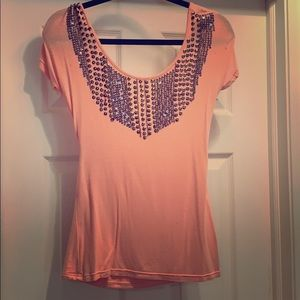 Pink top with beaded detail